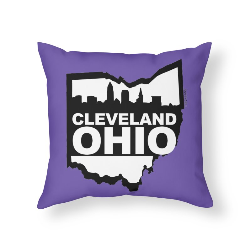 Cleveland Ohio Skyline Home Throw Pillow by Ricksans's Artist Shop
