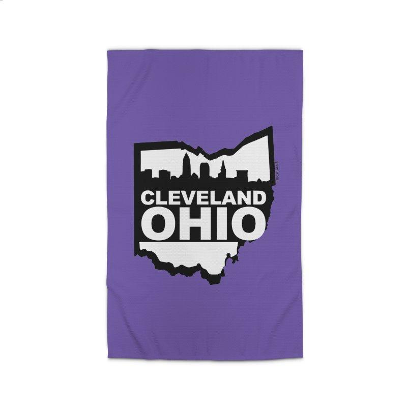 Cleveland Ohio Skyline Home Rug by Rick Sans' Artist Shop