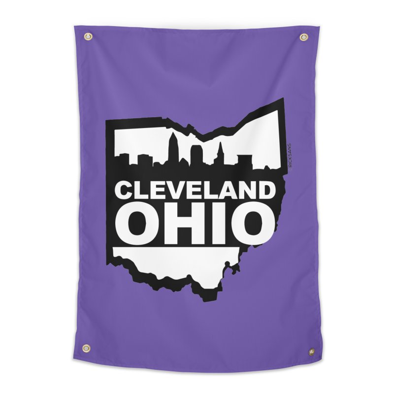 Cleveland Ohio Skyline Home Tapestry by Rick Sans' Artist Shop