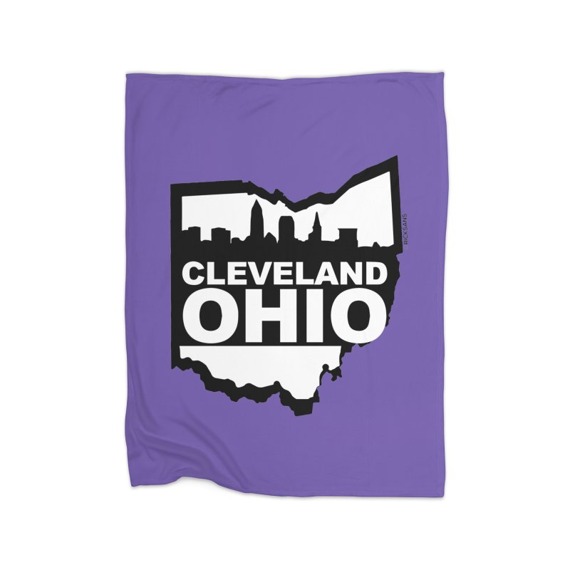 Cleveland Ohio Skyline Home Fleece Blanket Blanket by Rick Sans' Artist Shop