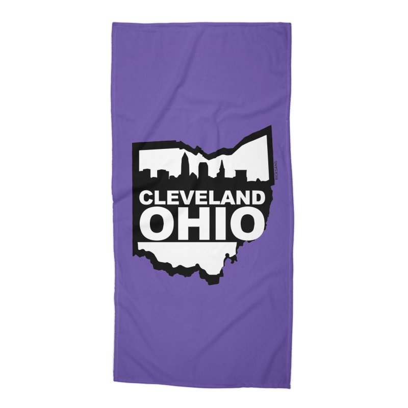 Cleveland Ohio Skyline Accessories Beach Towel by Rick Sans' Artist Shop