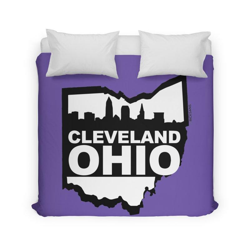Cleveland Ohio Skyline Home Duvet by Ricksans's Artist Shop