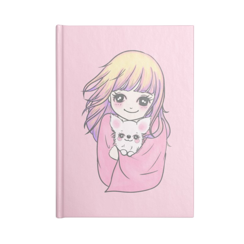 Staying Warm Dog and Girl Accessories Notebook by RingoHanasaki's Artist Shop