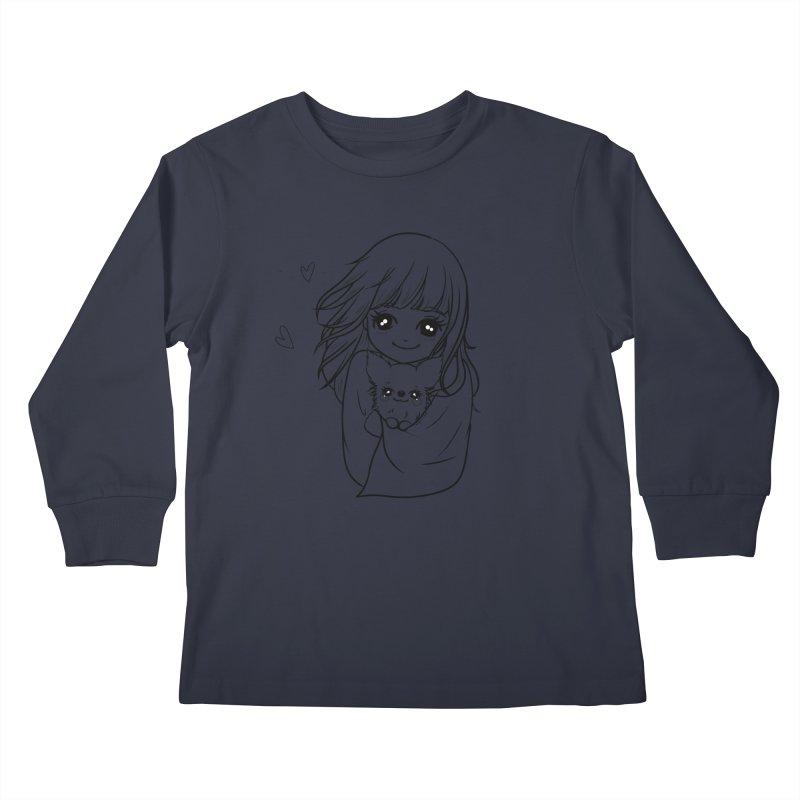 Staying Warm Dog and Girl Kids Longsleeve T-Shirt by RingoHanasaki's Artist Shop