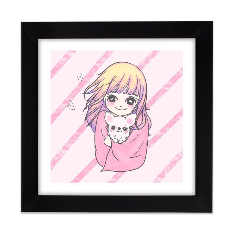 Staying Warm Dog and Girl Home Framed Fine Art Print by RingoHanasaki's Artist Shop