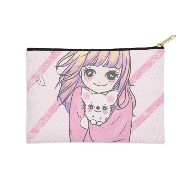Staying Warm Dog and Girl Accessories Zip Pouch by RingoHanasaki's Artist Shop