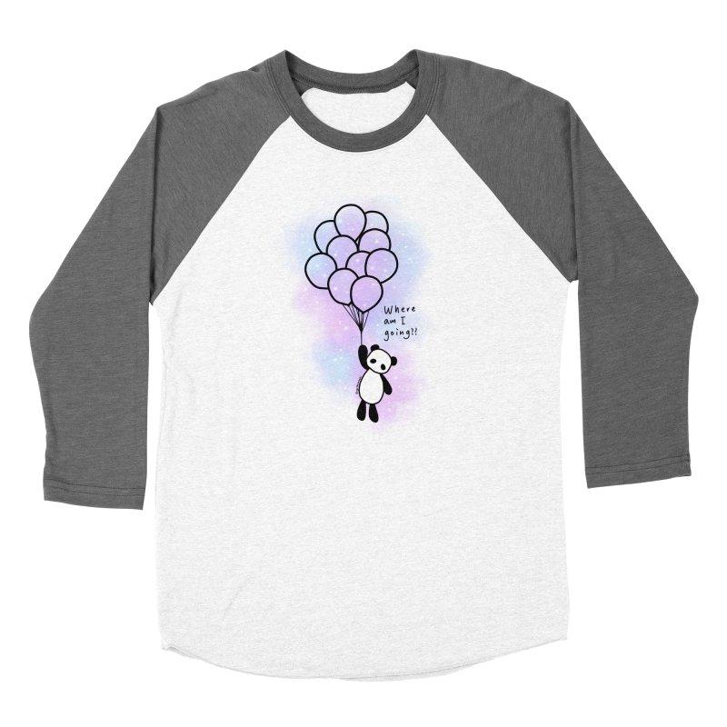 Panda Fly with Balloons Men's Baseball Triblend Longsleeve T-Shirt by RingoHanasaki's Artist Shop