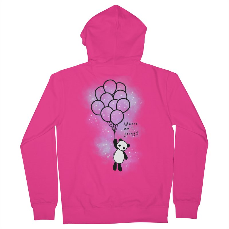 Panda Fly with Balloons Men's French Terry Zip-Up Hoody by RingoHanasaki's Artist Shop