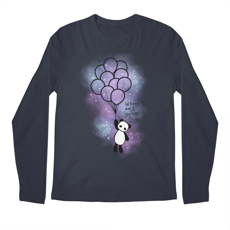 Panda Fly with Balloons Men's Regular Longsleeve T-Shirt by RingoHanasaki's Artist Shop