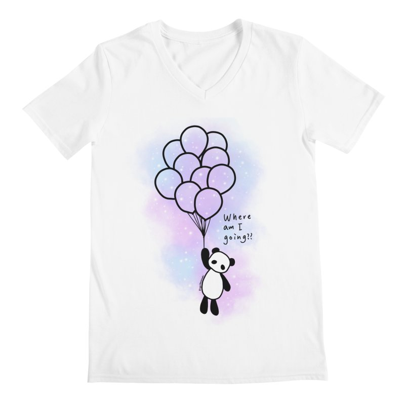 Panda Fly with Balloons Men's V-Neck by RingoHanasaki's Artist Shop