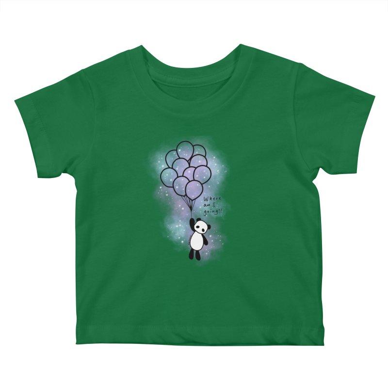 Panda Fly with Balloons Kids Baby T-Shirt by RingoHanasaki's Artist Shop