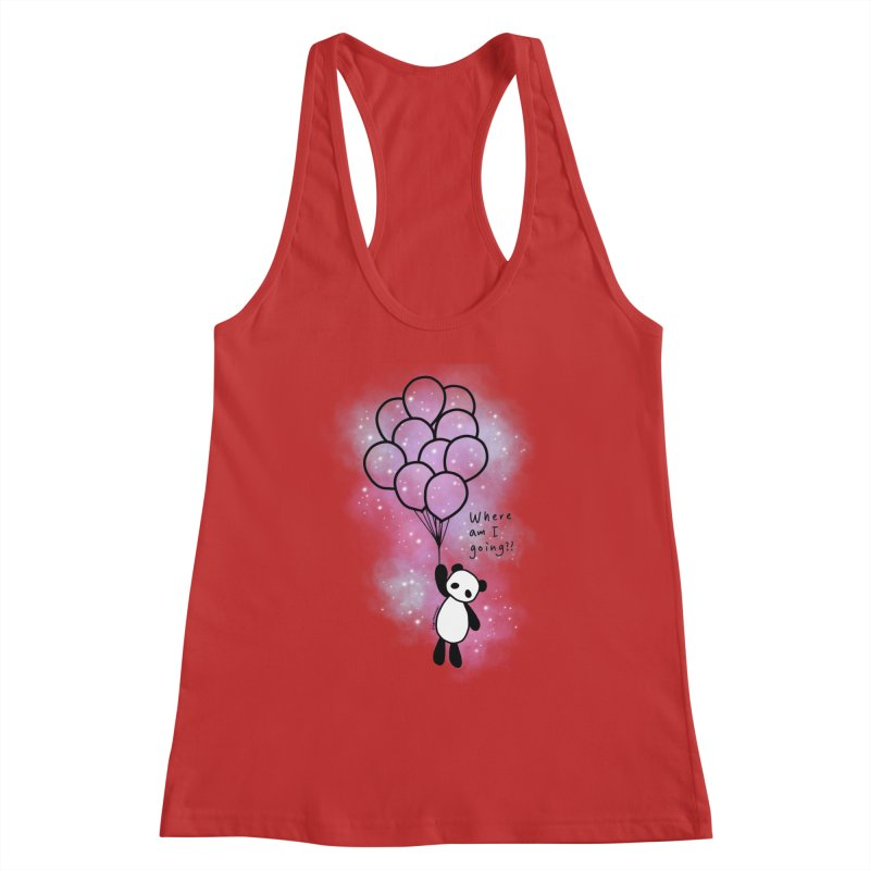 Panda Fly with Balloons Women's Racerback Tank by RingoHanasaki's Artist Shop