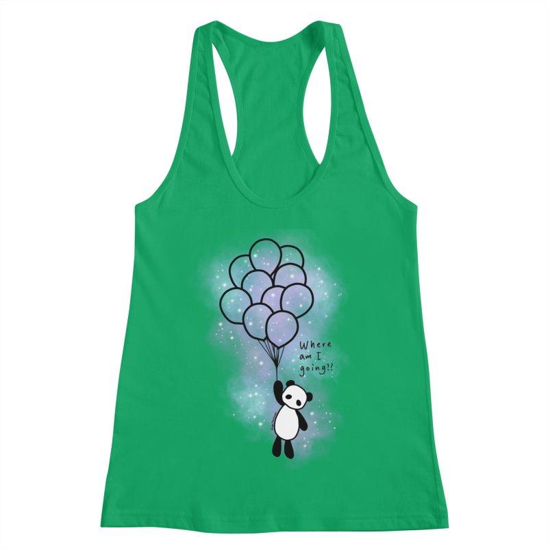 Panda Fly with Balloons Women's Tank by RingoHanasaki's Artist Shop