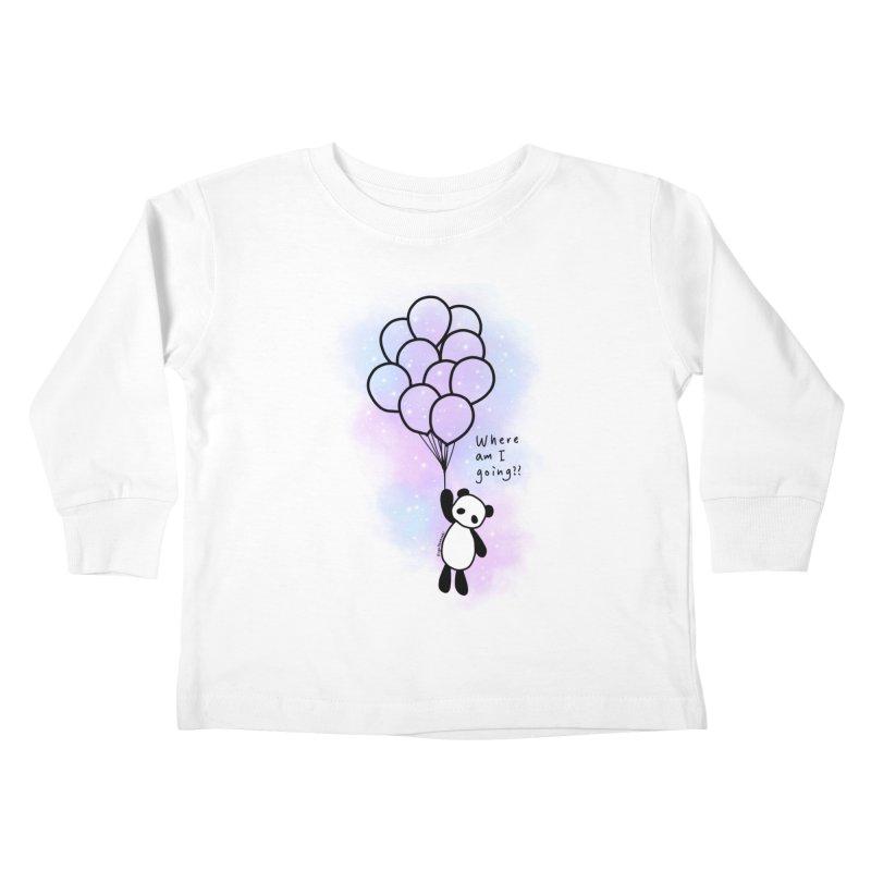 Panda Fly with Balloons Kids Toddler Longsleeve T-Shirt by RingoHanasaki's Artist Shop