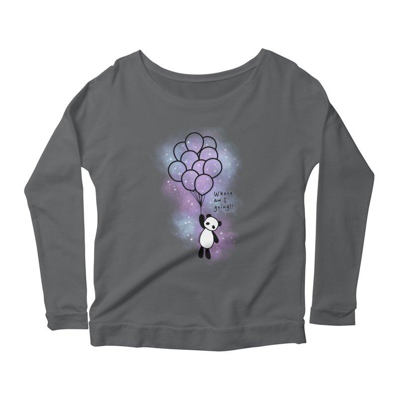 Panda Fly with Balloons Women's Longsleeve T-Shirt by RingoHanasaki's Artist Shop