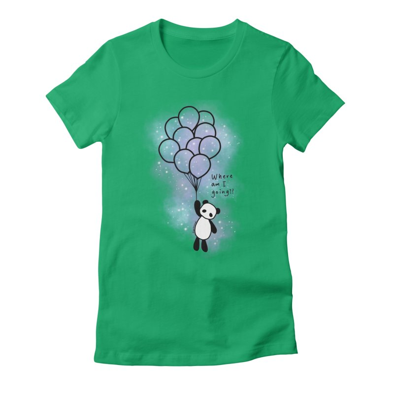 Panda Fly with Balloons Women's Fitted T-Shirt by RingoHanasaki's Artist Shop