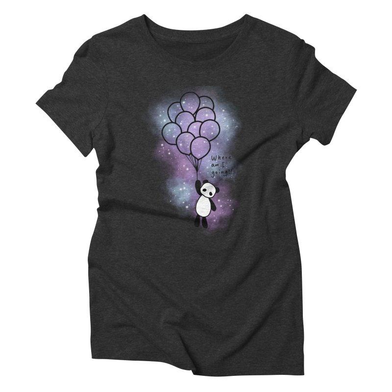 Panda Fly with Balloons Women's Triblend T-Shirt by RingoHanasaki's Artist Shop