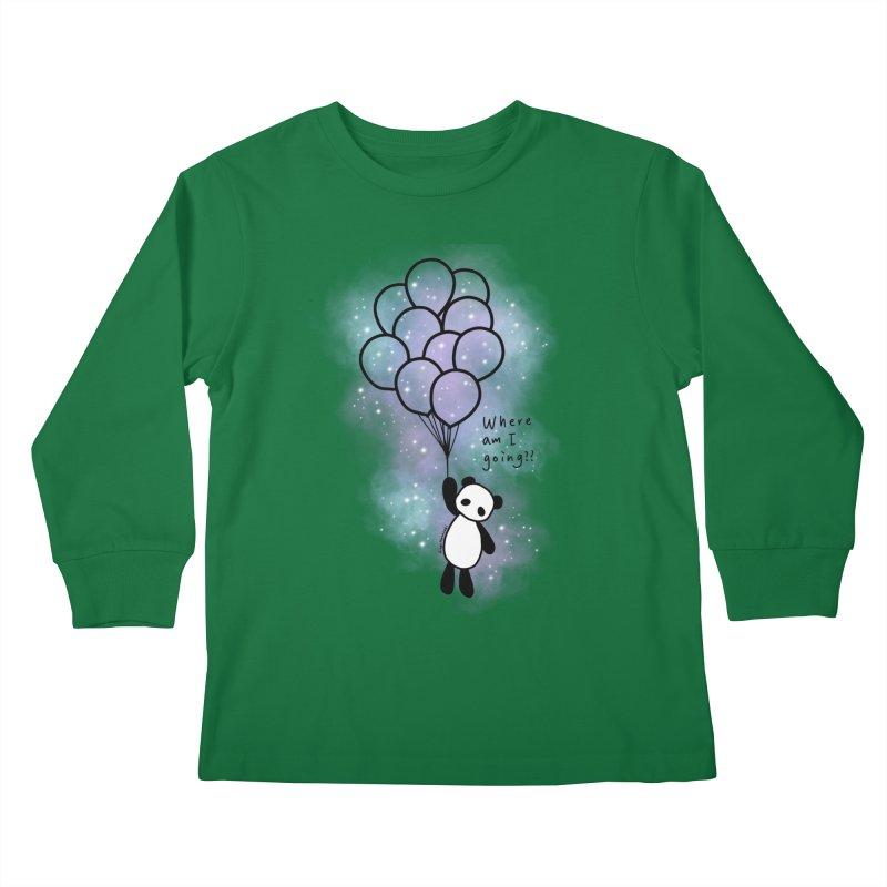 Panda Fly with Balloons Kids Longsleeve T-Shirt by RingoHanasaki's Artist Shop