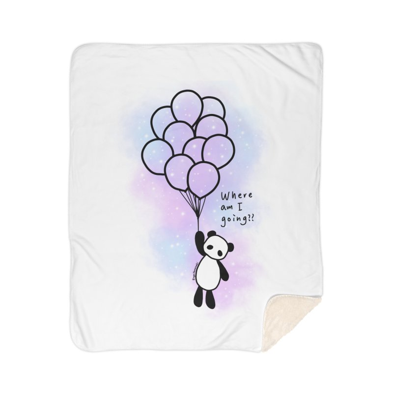 Panda Fly with Balloons Home Sherpa Blanket Blanket by RingoHanasaki's Artist Shop