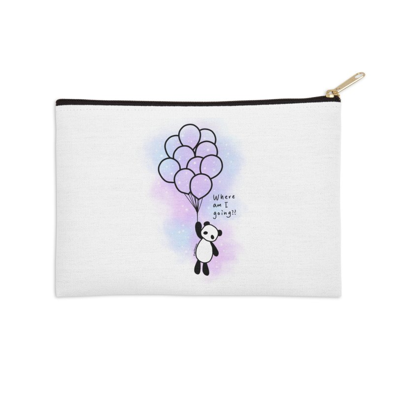 Panda Fly with Balloons Accessories Zip Pouch by RingoHanasaki's Artist Shop