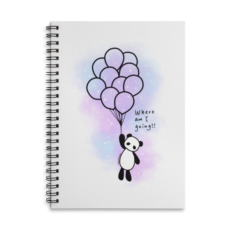 Panda Fly with Balloons Accessories Lined Spiral Notebook by RingoHanasaki's Artist Shop