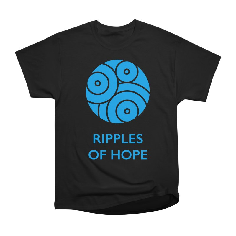 Ripples of Hope - Vertical - Blue Women's Heavyweight Unisex T-Shirt by Ripples of Hope Swag Shop