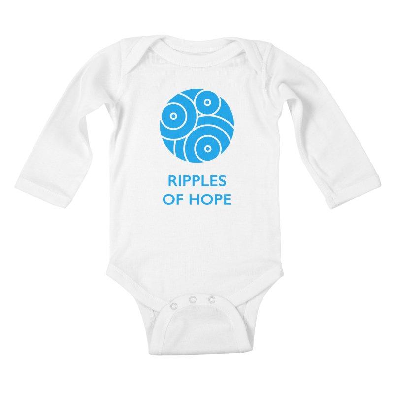 Ripples of Hope - Vertical - Blue Kids Baby Longsleeve Bodysuit by Ripples of Hope Swag Shop