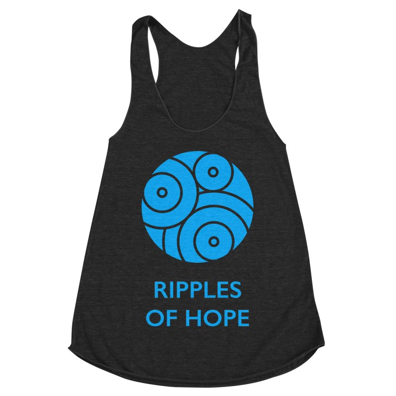 Ripples of Hope - Vertical - Blue Women's Racerback Triblend Tank by Ripples of Hope Swag Shop