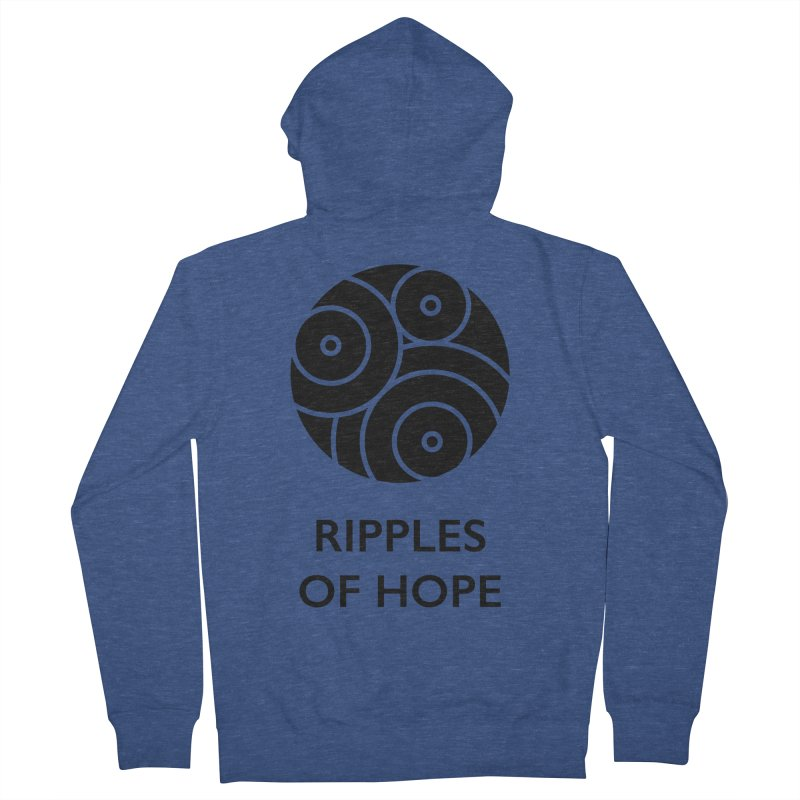 Ripples of Hope - Vertical - Black Women's French Terry Zip-Up Hoody by Ripples of Hope Swag Shop