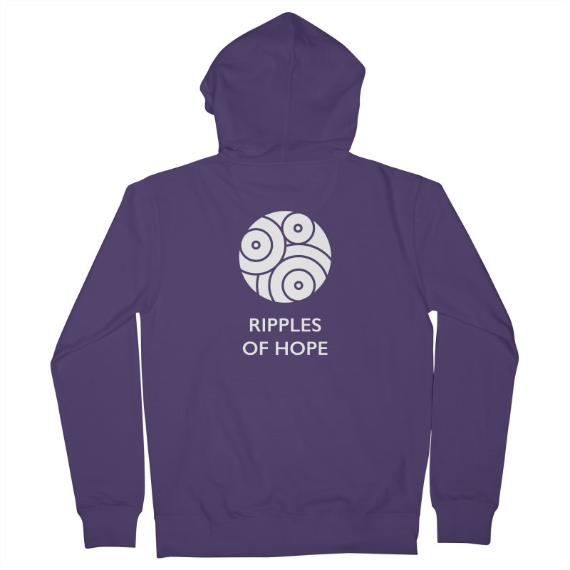Ripples of Hope - Vertical - White Women's French Terry Zip-Up Hoody by Ripples of Hope Swag Shop