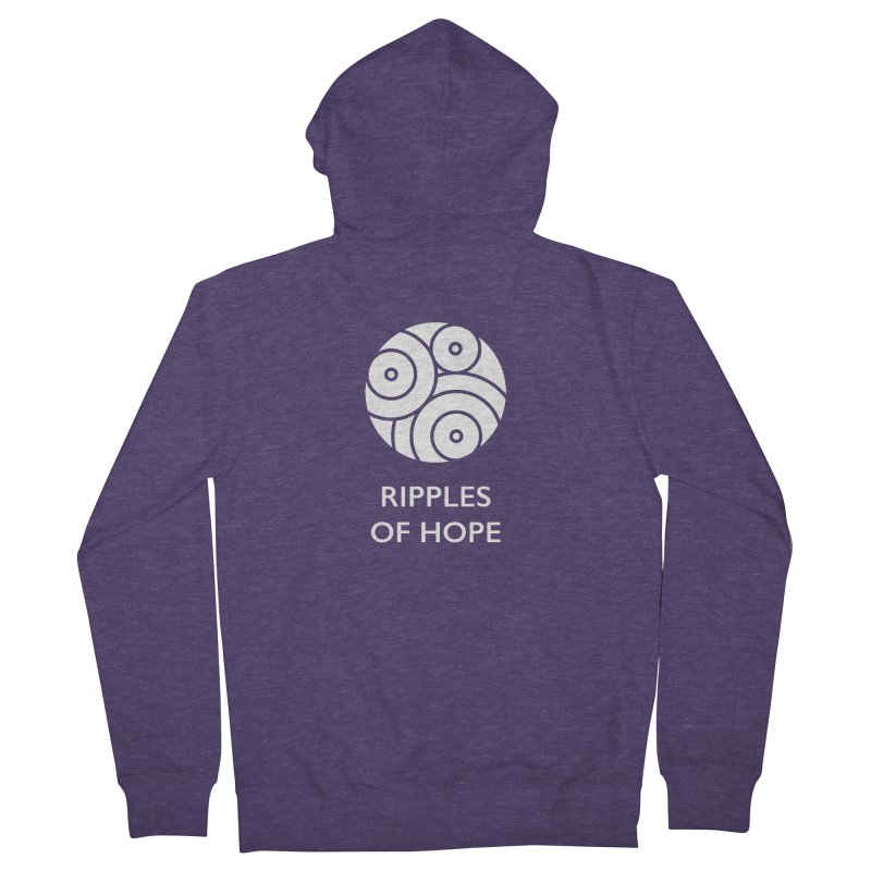 Ripples of Hope - Vertical - White Men's French Terry Zip-Up Hoody by Ripples of Hope Swag Shop