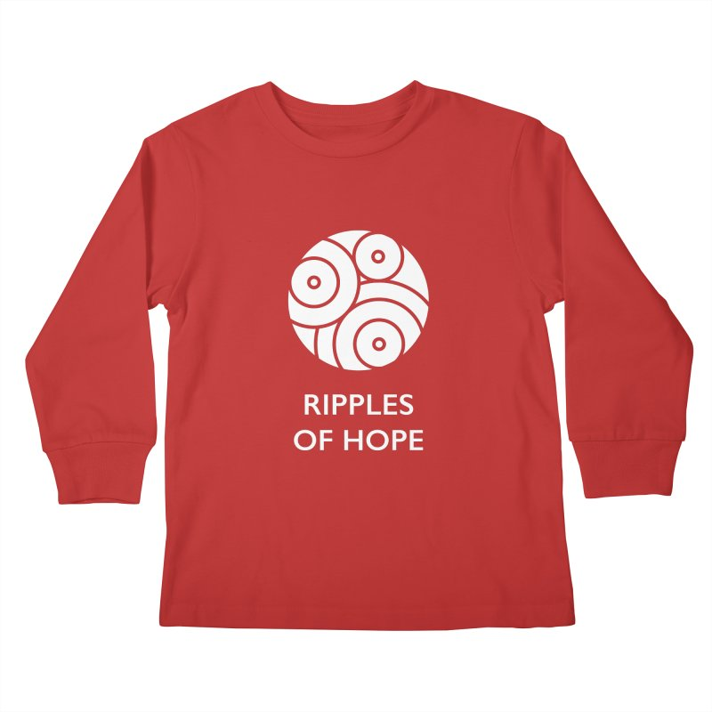 Ripples of Hope - Vertical - White Kids Longsleeve T-Shirt by Ripples of Hope Swag Shop