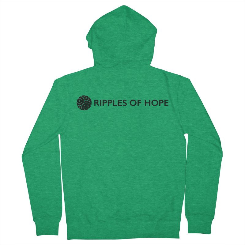 Horizontal - Ripples of Hope Black Women's French Terry Zip-Up Hoody by Ripples of Hope Swag Shop