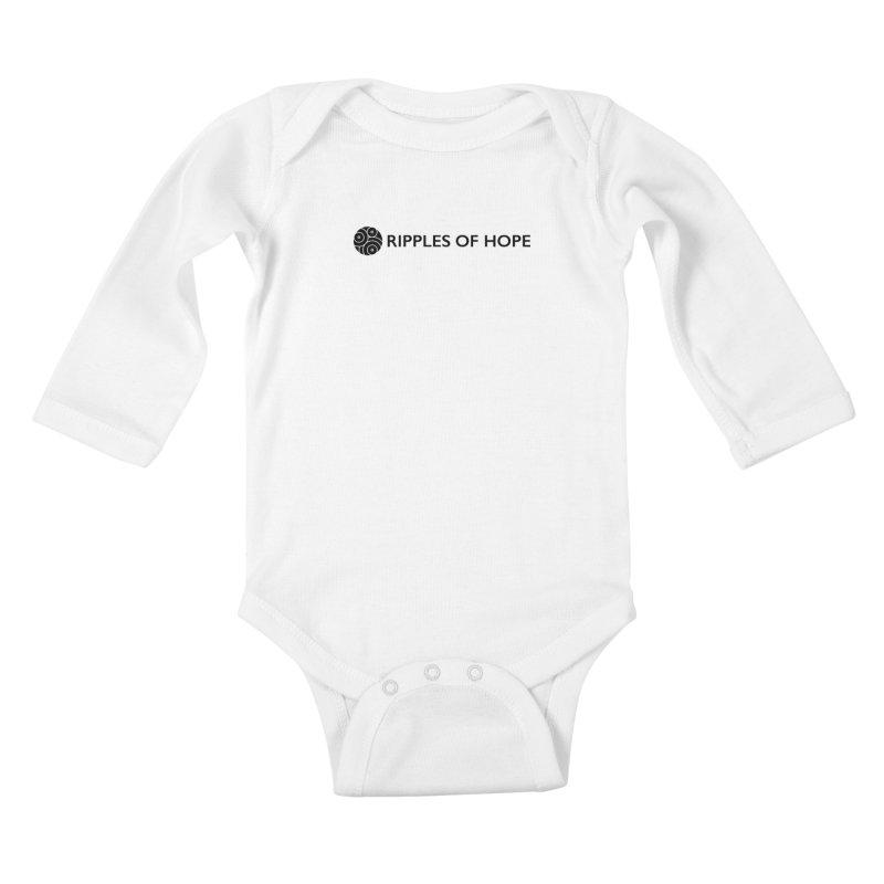 Horizontal - Ripples of Hope Black Kids Baby Longsleeve Bodysuit by Ripples of Hope Swag Shop