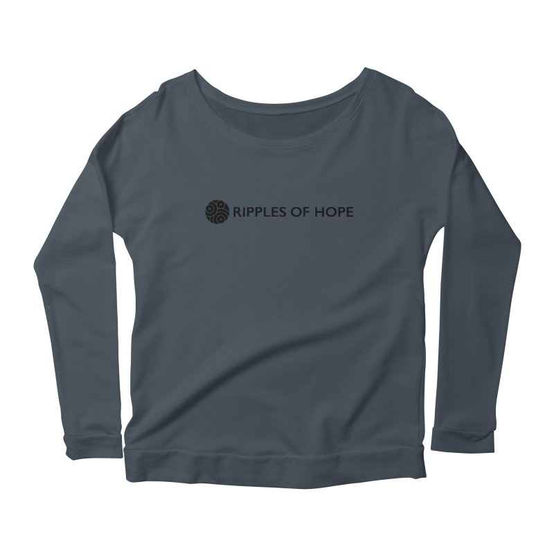 Horizontal - Ripples of Hope Black Women's Scoop Neck Longsleeve T-Shirt by Ripples of Hope Swag Shop