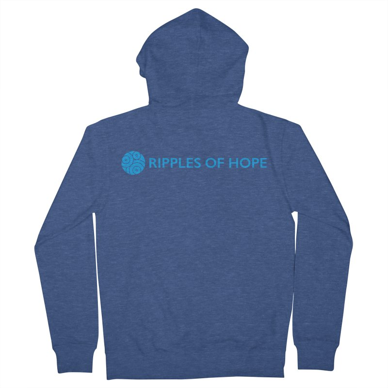 Ripples of Hope - Horizontal - Blue Women's French Terry Zip-Up Hoody by Ripples of Hope Swag Shop