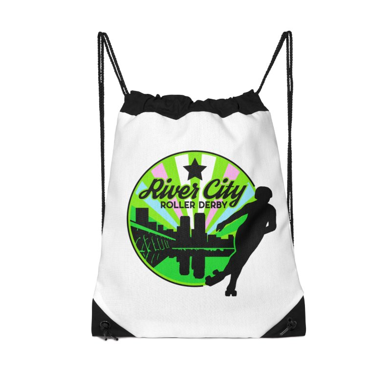 2019 Trans Pride! Accessories Drawstring Bag Bag by River City Roller Derby's Artist Shop