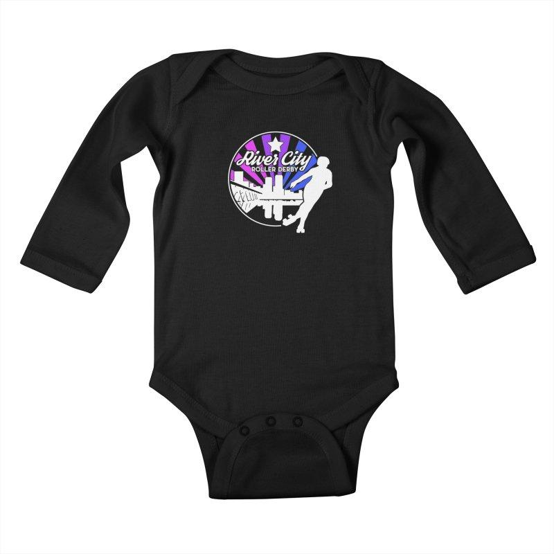 2019 Bi Pride (alt) Kids Baby Longsleeve Bodysuit by River City Roller Derby's Artist Shop