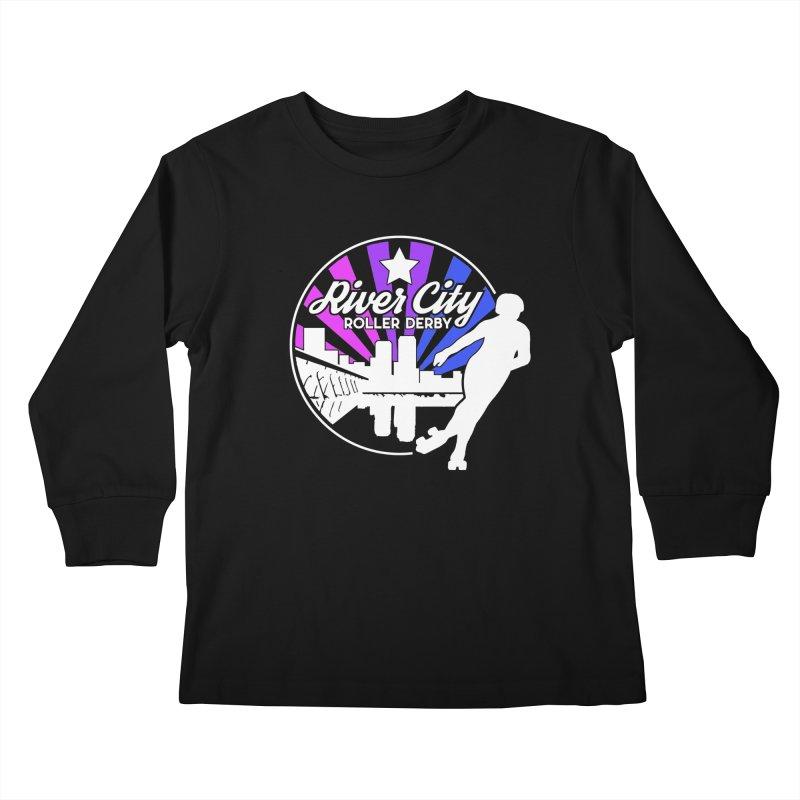 2019 Bi Pride (alt) Kids Longsleeve T-Shirt by River City Roller Derby's Artist Shop