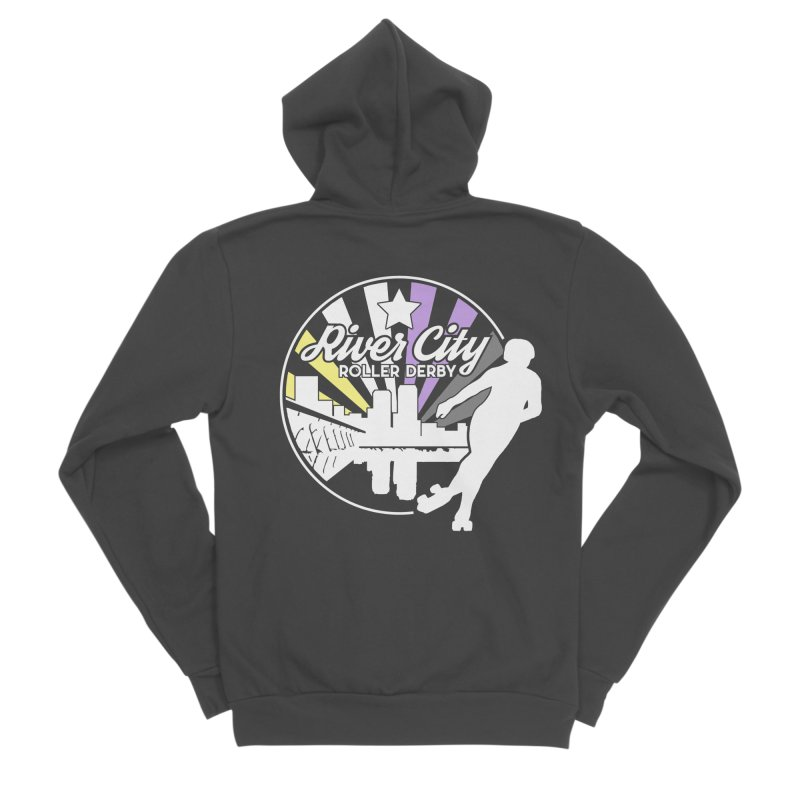 2019 Nonbinary Pride (alt) Men's Sponge Fleece Zip-Up Hoody by River City Roller Derby's Artist Shop