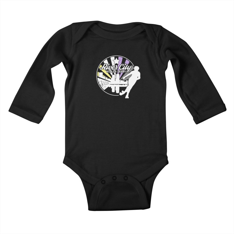 2019 Nonbinary Pride (alt) Kids Baby Longsleeve Bodysuit by River City Roller Derby's Artist Shop