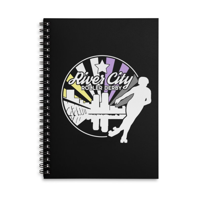 2019 Nonbinary Pride (alt) Accessories Lined Spiral Notebook by River City Roller Derby's Artist Shop