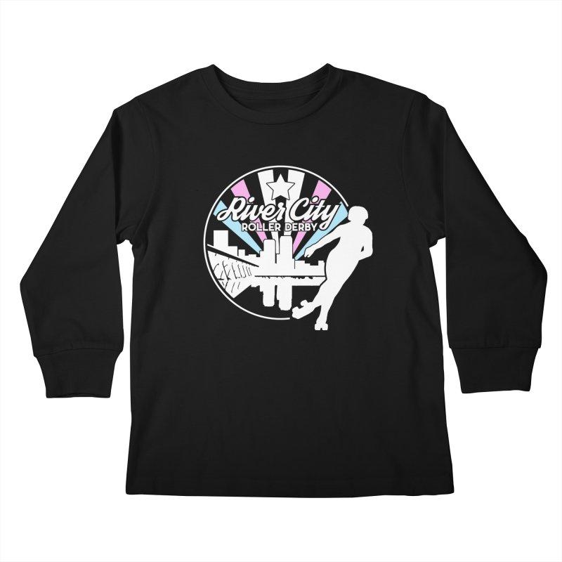 2019 Trans Pride (alt) Kids Longsleeve T-Shirt by River City Roller Derby's Artist Shop