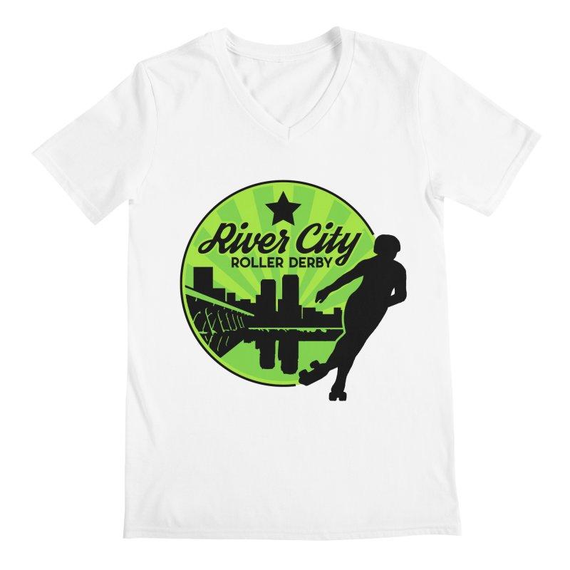 River City Roller Derby Logo Men's Regular V-Neck by RiverCityRollerDerby's Artist Shop