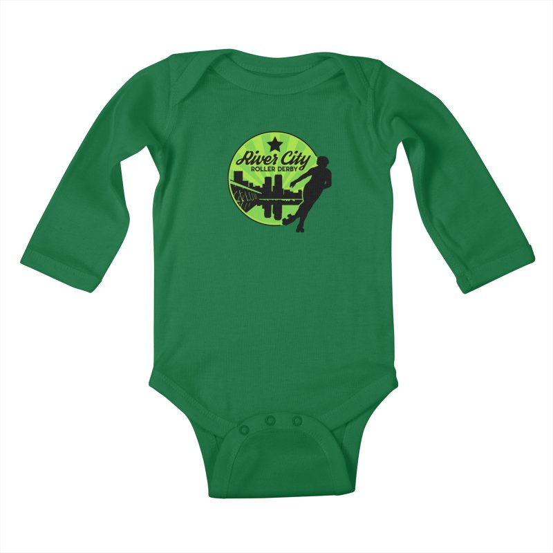 River City Roller Derby Logo Kids Baby Longsleeve Bodysuit by River City Roller Derby's Artist Shop
