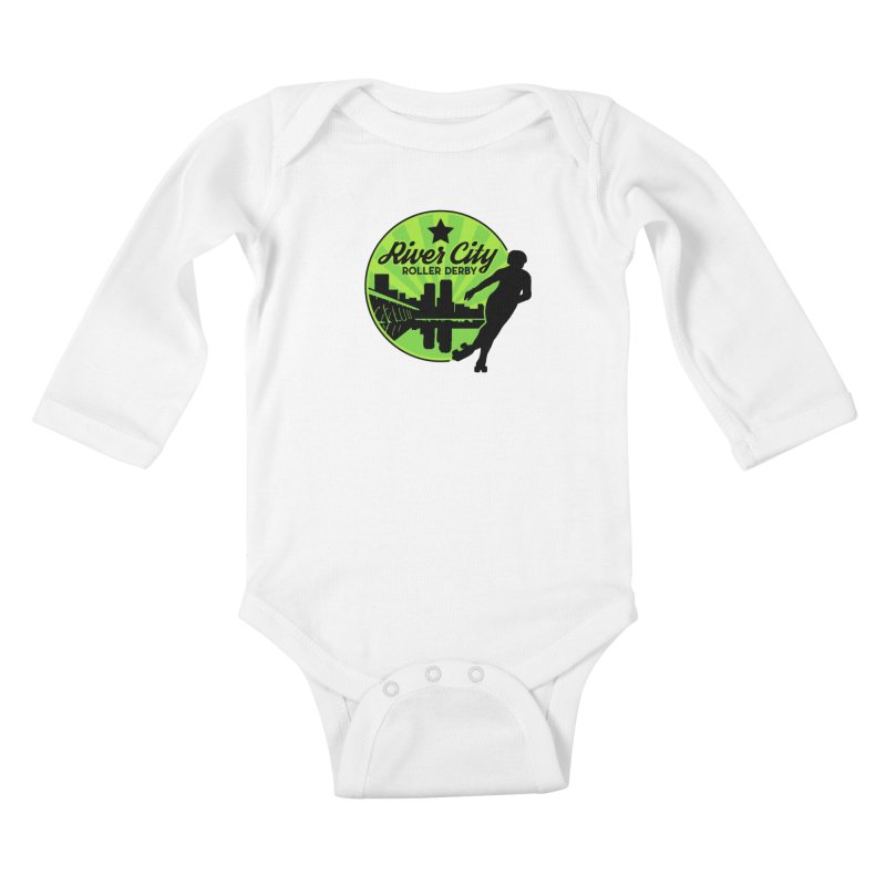 River City Roller Derby Logo Kids Baby Longsleeve Bodysuit by RiverCityRollerDerby's Artist Shop