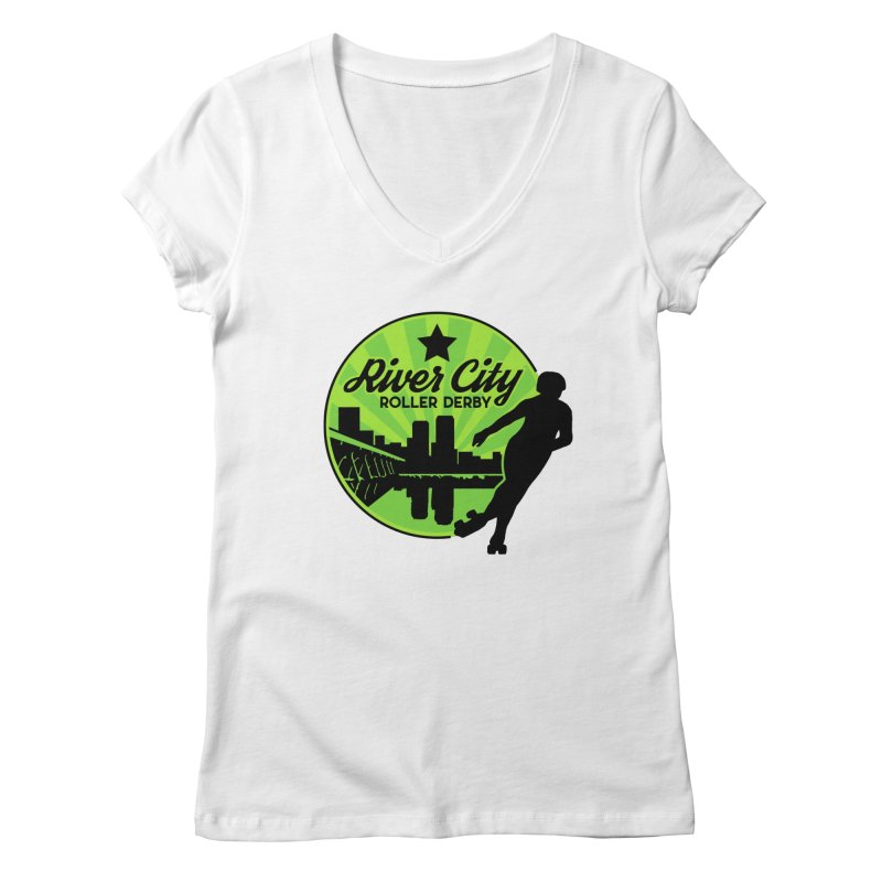 River City Roller Derby Logo Women's Regular V-Neck by RiverCityRollerDerby's Artist Shop