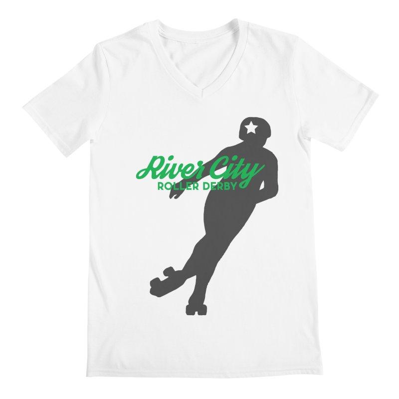 River City Roller Derby Skater Men's Regular V-Neck by RiverCityRollerDerby's Artist Shop
