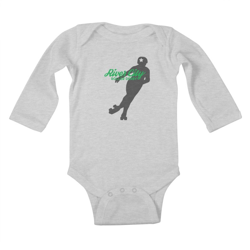 River City Roller Derby Skater Kids Baby Longsleeve Bodysuit by RiverCityRollerDerby's Artist Shop