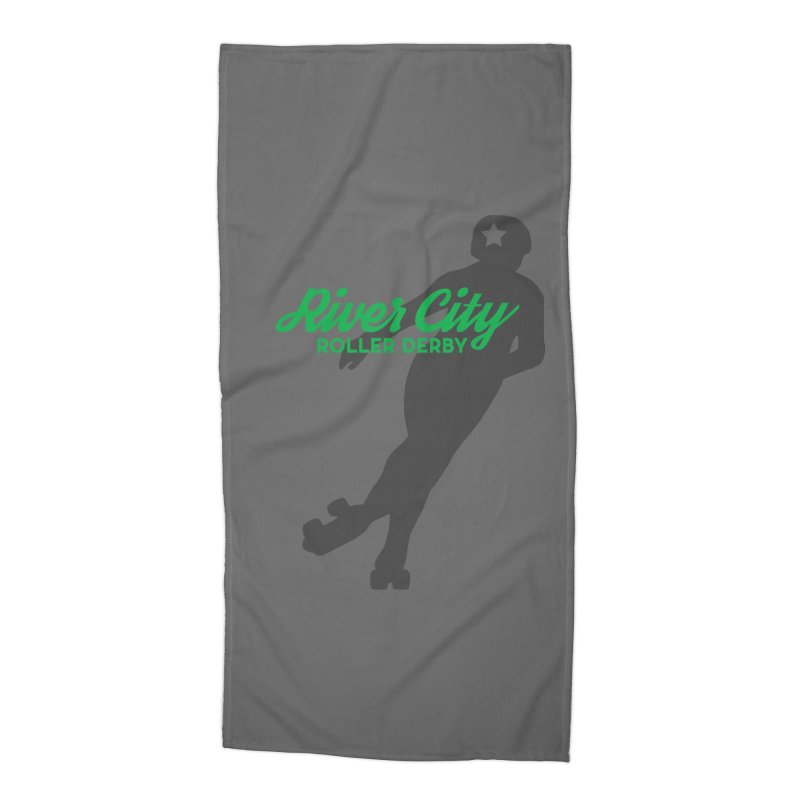 River City Roller Derby Skater Accessories Beach Towel by River City Roller Derby's Artist Shop